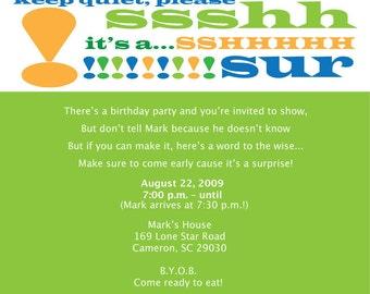 Surprise Party Invitation Shh Fun Digital File Print Printable