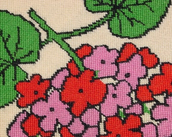 Valentino Vibrant Wool Needlepoint from the Kenton Collection by Valentino, Geraniums in Pink, Red, Purple and Green, 70s