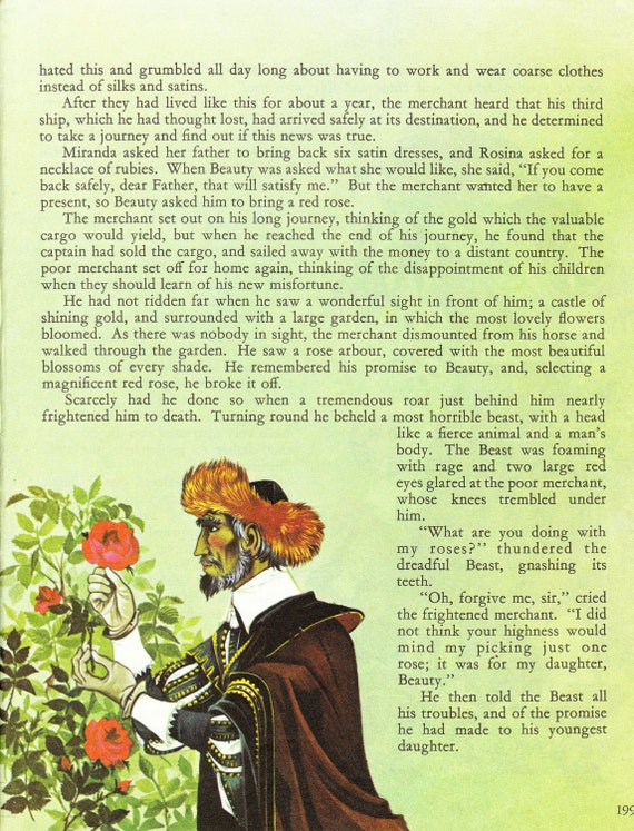 Beauty and the Beast - Vintage Illustration Storybook Print - Deans A Book of Fairy Tales - Paper Ephemera