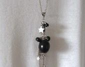 Black Long Star Beaded Everyday Handmade Necklace - Black Beads Necklace - Black Jewelry - Necklaces for Women