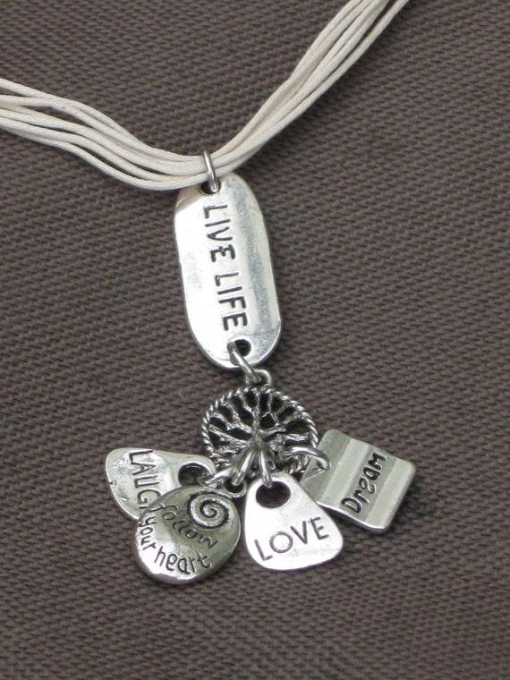 Necklace-Charm necklace-Words of Wisdom-Inspirational Jewelry-Tree of Life Jewelry-Words jewelry-Inspirational words Necklace-