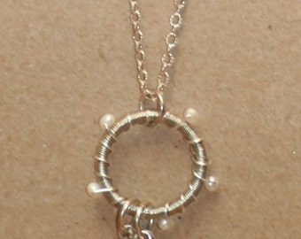 SS wire and pearl charm necklace