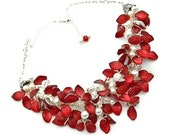 Red Statement Necklace - Nature Jewelry - Red Glass Leaf Beaded Necklace - Red Bib Necklace - N427