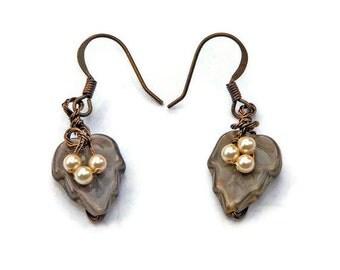 Brown Dangle Earring,  Brown Leaf Earrings, Woodland Jewelry, Rustic Earrings, Nature Jewelry