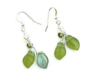 Green Leaf Earrings, Green Dangle Earrings, Nature Jewelry, Green Botanical Earrings, Green Twig Earrings,  Hostess Gift For Her