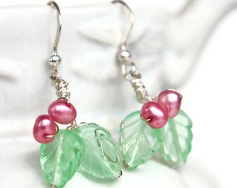 Pink Green Dangle earrings, Leaf Earrings, Nature Jewelry, Spring, Gift for Her Under 30 dollars