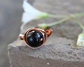 Black Pearl  -  Wire Wrapped Bead Ring - Size 8 - READY to SHIP