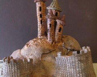 Studio pottery garden art mushrooms forming a castle