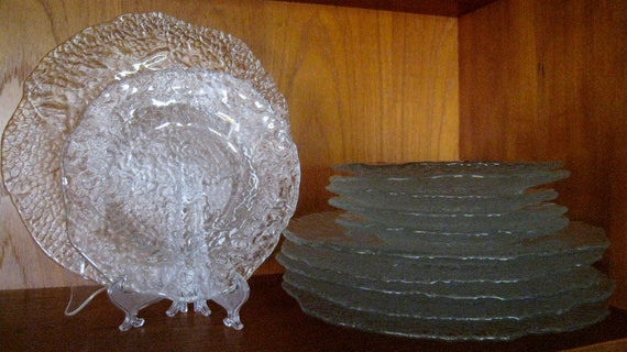 "Pukeberg textured glass ""ice"" Dinner plates from Sweden Scandinavian glass plates"