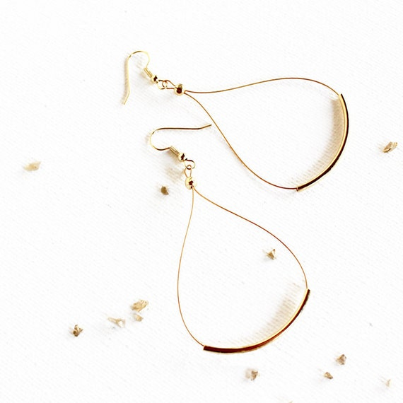 Gold Featherlight Hoops / minimal curved brass tube earrings / simple, light, everyday jewelry