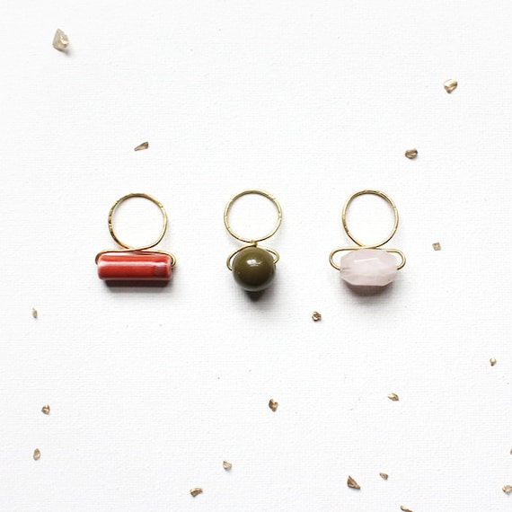 Chunky Stacked Bauble Rings / forged brass stacking rings - red porcelain, vintage olive green bead, rose quartz - statement cocktail rings
