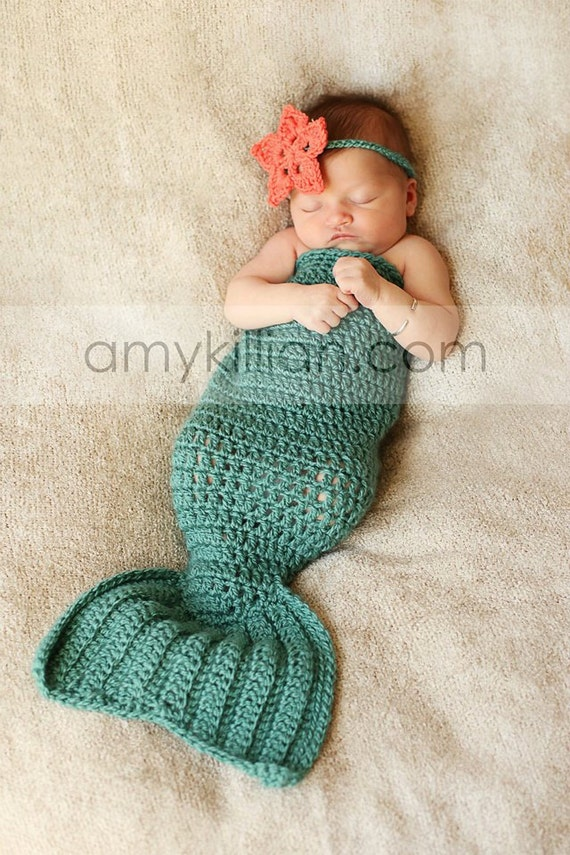 Crochet Mermaid Tail & Headband Photography Prop - Newborn