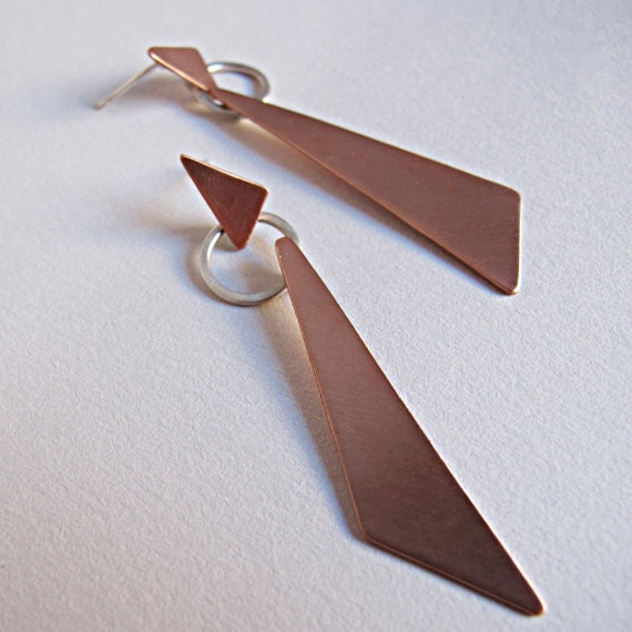 Geometric Copper Earrings, Triangle Earrings, Mixed Metal Earrings