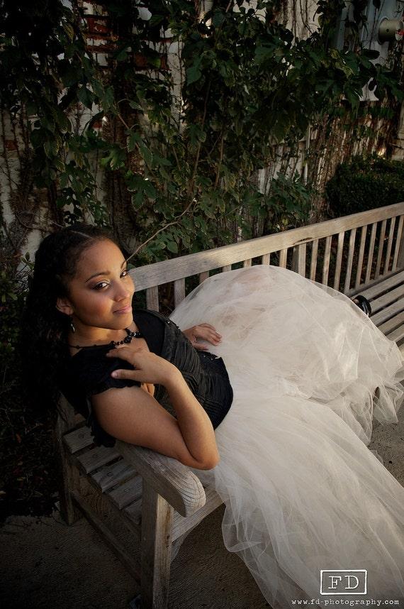 Couture Ivory Long/Full Elegant Tulle Tutu Skirt For Adults