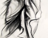 """Reproduction Poster. Contemporary Style Charcoal Drawing, Giclee Print--Two Women, 13""""x19"""""""