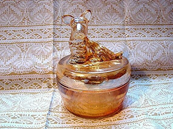 Vintage 1950s Glass Powder Jar Marigold Carnival Glass Scotty Dog Powder Jar