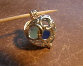 FreeShipping to USA Seaglass filled locket Plump Silver Heart Openwork allows glass to be seen from all sides. Offers Considered  or 23.00