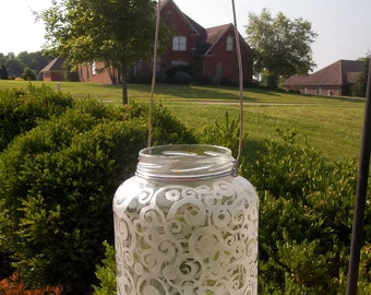 Recycled / repurposed glass jar lantern etched with funky swirls and circles