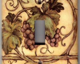 Welcome Grapes / Grapevine Switchplate Cover - Single Regular size (744)