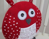 Red Heart & Lace Owl Pillow