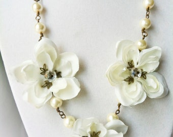 bridal jewelry, ivory cherry blossom necklace, bridal necklace, headdress, bridal crown