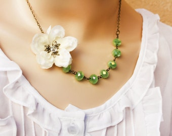 green necklace, ivory cherry blossom, flower necklace, asymetrical necklace free simple drop earrings