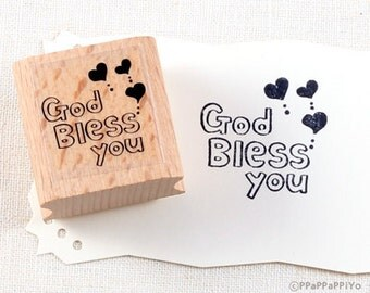 50% OFF SALE God bless you Rubber Stamp