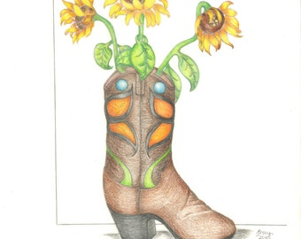Sunflower Cowboy Boot Art Print