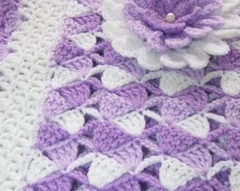 Crochet Baby Blanket PATTERN-Beautiful Lilac Baby Blanket With Flower-Digital Pattern-Baby Shower-DIY Gift-Lyubava Crochet Pattern PDF No.23