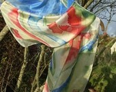 Teasel and Autumn Leaf Hand Painted Long Silk Scarf