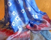 Love in a Mist Blue and Cherry Shibori Hand Painted Long Silk Scarf Boho Chic
