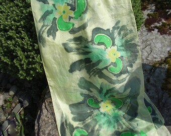 Primrose Path - Hand Painted Long Silk Scarf in Primrose, Emerald, Turquoise, Charcoal and Citron