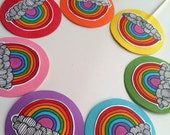 14 Cheerful Rainbow Cupcake Toppers // Colorful Handmade Decorations // Originals // Personalized