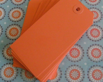 Orange Tags Craft Shipping Large Set of 25