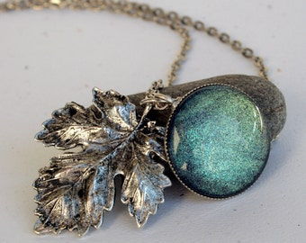 Serenity Leaf Blue Green Gold Color Shifting Antique Silver Necklace