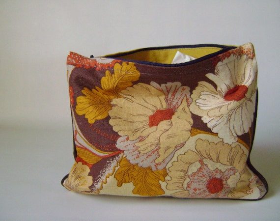 Mustard Yellow and Floral Print Clutch