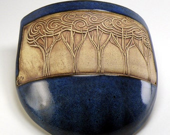 Trees inspired by Starry NIght - Pouch Pot - Blue