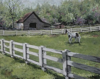 Note Cards , Country Art, horse art print, farmhouse wall decor, Artist Cathy Cooksey