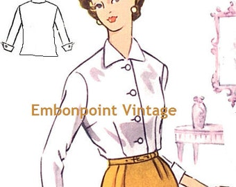 Plus Size (or any size) Vintage 1950s Blouse Pattern - PDF - Pattern No 45a: Gloria Blouse