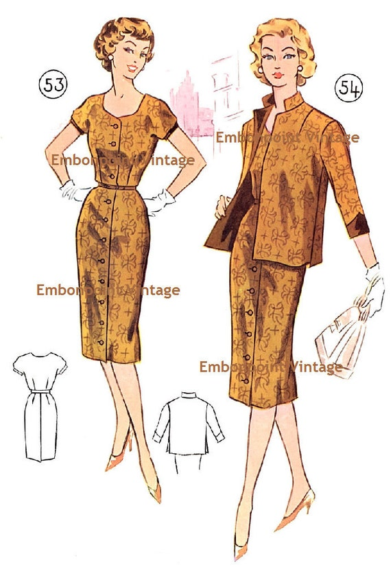 Plus Size (or any size) Vintage 1950s Suit Pattern - PDF - Pattern No 53 54 Jane
