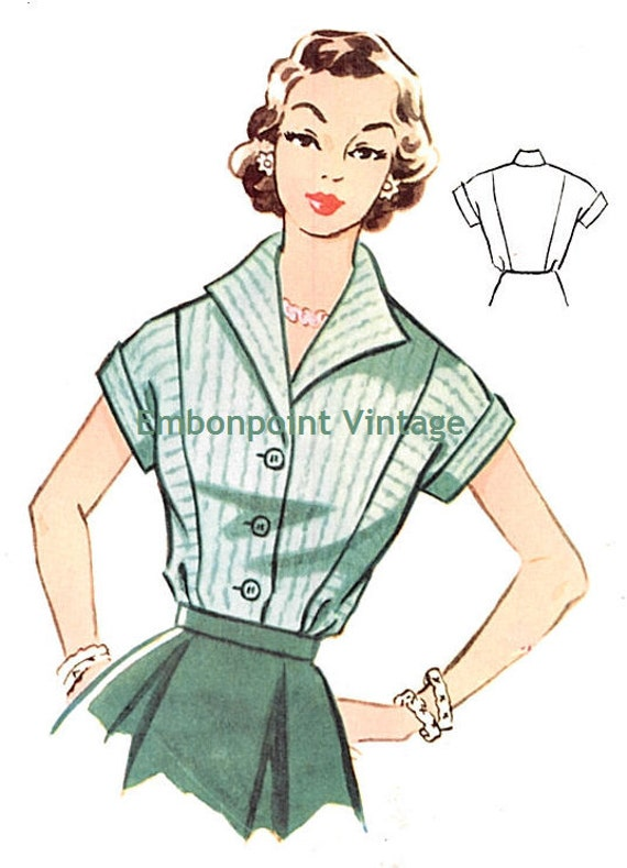 Plus Size (or any size) Vintage 1950s Blouse Pattern - PDF - Pattern No 100 Jennifer