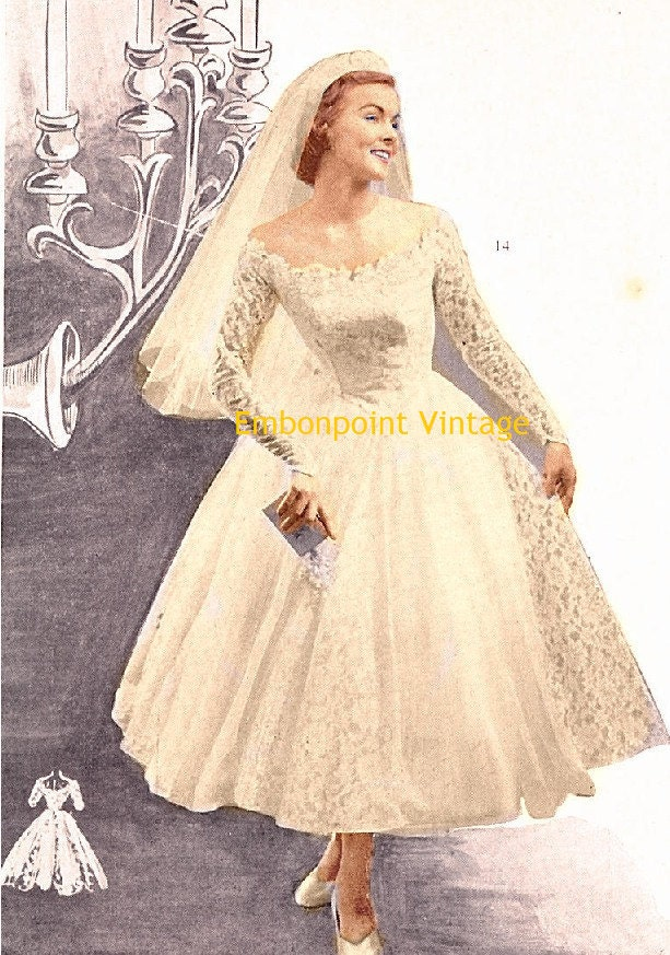 Plus size or any size vintage 1949 wedding dress sewing for Plus size vintage style wedding dresses