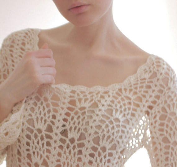 r e s e r v e d White knit see through sweater