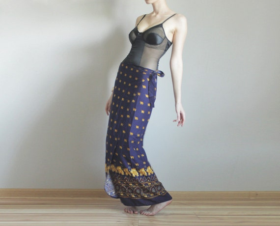Wrap maxi skirt in gold purple batic
