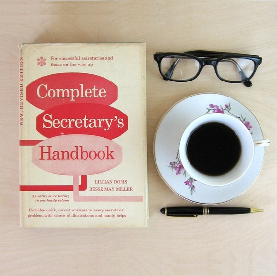 Complete Secretarys Handbook - Mid Century Modern Mad Men Office Style Prop Turquoise Hardcover with Red White Dust Jacket