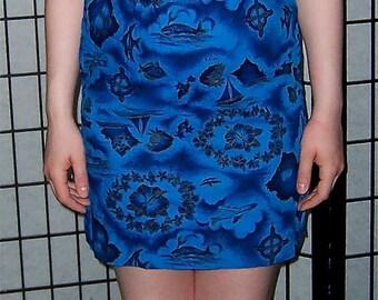 Blue Hawaii cotton scooter dress for tiki luau fun- SMALL