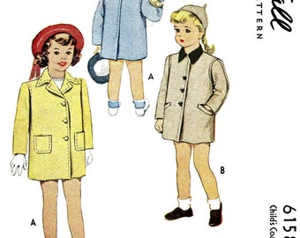Vintage 40s, Girls Coat Pattern, McCall 6158, 1945 pattern, 40s sewing pattern