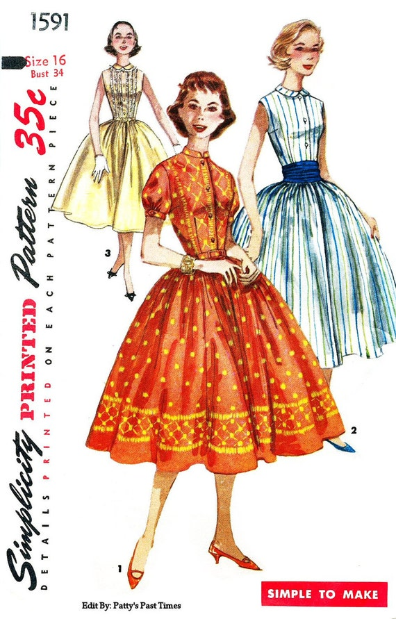 Simplicity 1591, 1950s Rockabilly, Dress Pattern from 1956