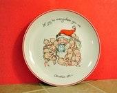 Christmas Kewpie & Santa Plate - 1973 by JLK