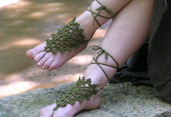 Crochet Barefoot Sandals, Bohemian Olive Green Anklets, Made to Order